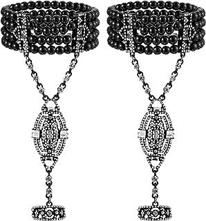Hicarer 2 Pieces 1920s Flapper Bracelet Ring Set Imitation Pearl Crystal Bracelet for Women