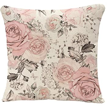 Amazon Com Yggqf Throw Floral Pillow Case Watercolor Pink Flowers And Leaves Decorative Cushion Cover 18 X 18 Inch Square Throw Pillow Cover Home Kitchen