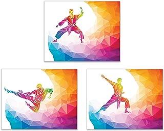 Summit Designs Martial Arts Wall Art Decor Prints - Set of 3 (8x10) Inch Unframed Poster Photos - Karate Jiu Jitsu Wrestling Muai Thai