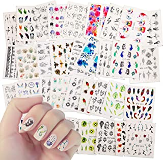 40 Sheets Nail Decals for Women Girls,Akwox Nail Stickers Set Unicorn Insect Dreamcatcher Flowers Feathers Watermark False Nail Manicure Stickers for Fingernails Toenails Decoration