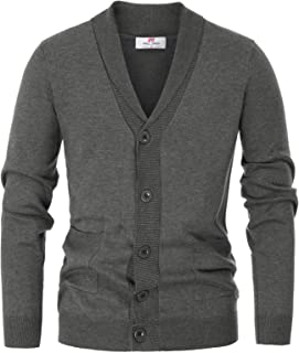 Men's V-Neck Button Down 2 Pockets Cardigan Sweater Ribbed Edge