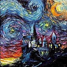 van Gogh Never Saw Hogwarts art Canvas Print starry night Aja 8x8, 10x10, 12x12, 16x16, 20x20, 24x24, 30x30 inches