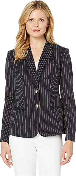 Stripe Two-Button Sweatshirt Jacket