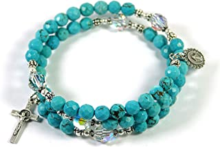 Virgin Mary Turquoise Gemstone and Swarovski Crystal Memory Wire Rosary Bracelet Blessed with Anointing Oil