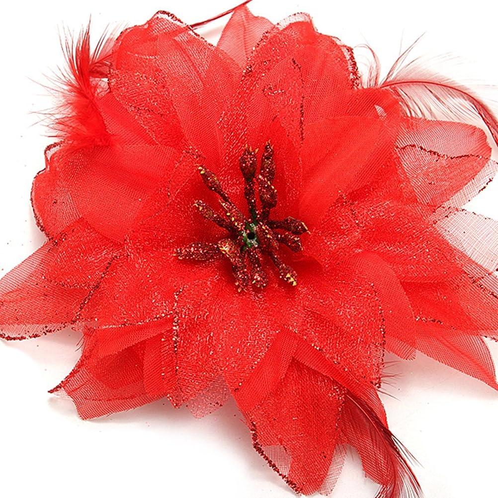 歯科医バイパスモックCikuso 3xヘアクリップ バレット 花 フェザー付き 女性の為 赤