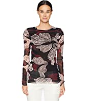 FUZZI - Long Sleeve Crystal Deco Flower Top