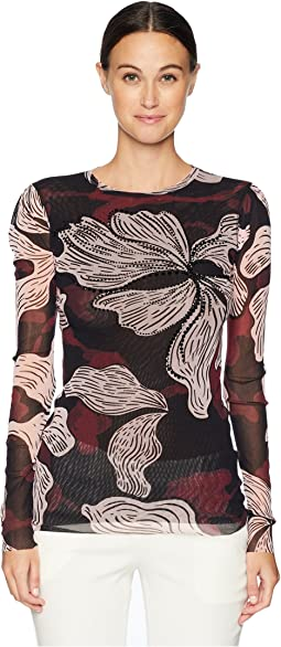 Long Sleeve Crystal Deco Flower Top