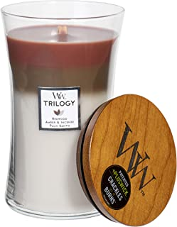 WoodWick Trilogy Forest Retreat - Redwood, Amber & Incense, Palo Santo Scented Crackling Wooden Wick Hourglass Candle in Clear Glass Jar, Large - 21.5 Oz