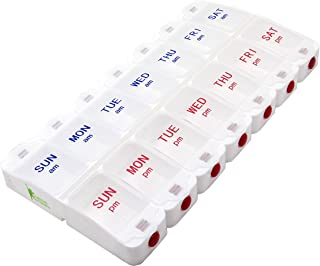 Weekly Pill Organizer Case - 7 Day AM PM Push Button Vitamin Box - Safe Pill Dispenser for Supplements & Pills - Large Daily Medicine Container with Transparent Lids & Big Letters by SURVIVE! Vitamins