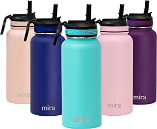 MIRA 32 oz Stainless Steel Water Bottle with Straw Lid | Vacuum Insulated Metal Thermos Flask Keeps Cold for 24 Hours, Hot for 12 Hours | BPA-Free Straw Cap | Teal