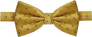 Gravata borboleta amarela com quadrados azuis