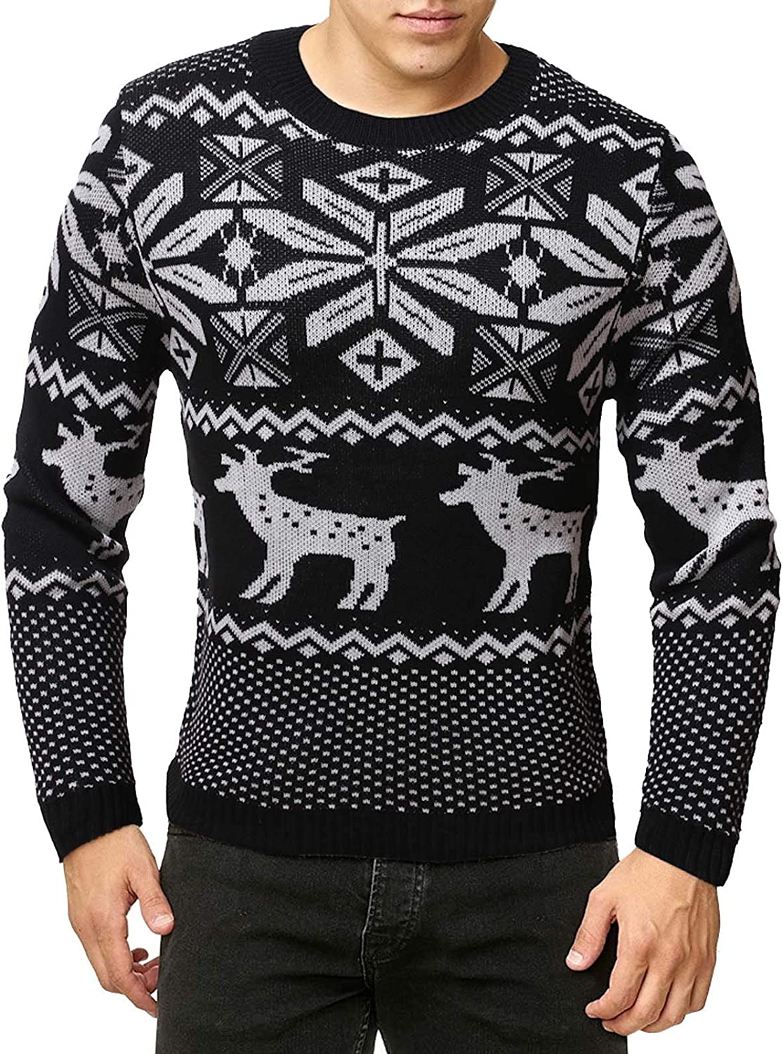Men's Autumn Winter Long Sleeve Animal Printed Round Neck Pullover Top Tee Sweater Blouse