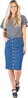 Called To Surf Kora MID/HIGH Waist Knee Length Button-UP Denim Jean Skirt with Pockets Denim