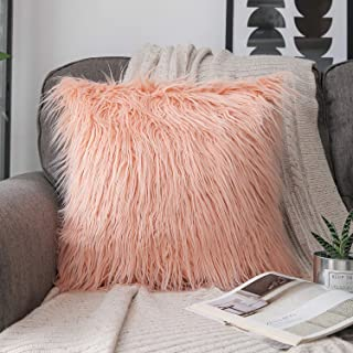 Phantoscope Luxury Series Throw Pillow Covers Faux Fur Mongolian Style Plush Cushion Case for Couch Bed and Chair, Orange 18 x 18 inches 45 x 45 cm