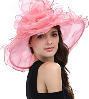 Women's Feathers Floral Fascinating Kentucky Church Wedding Party Floppy Hat