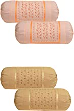 HSR Collection Embroidered Cotton Bolster Round Pillow Covers (Pack of 4, Orange & Biscuit)