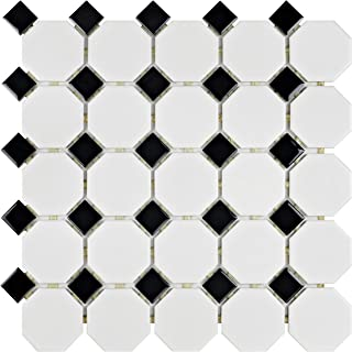 SomerTile FXLM2OWD Retro Octagon Porcelain Floor and Wall Tile, 11.5