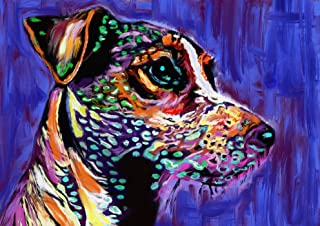 Jack Russell Art Print, JRT Nursery Art, Colorful long-haired JRT Pop Art Print, Gift for Jack Russell Owner, JRT Mom, Jack Russell Decor, Colorful Jack Russell Painting Signed Print by Oscar Jetson