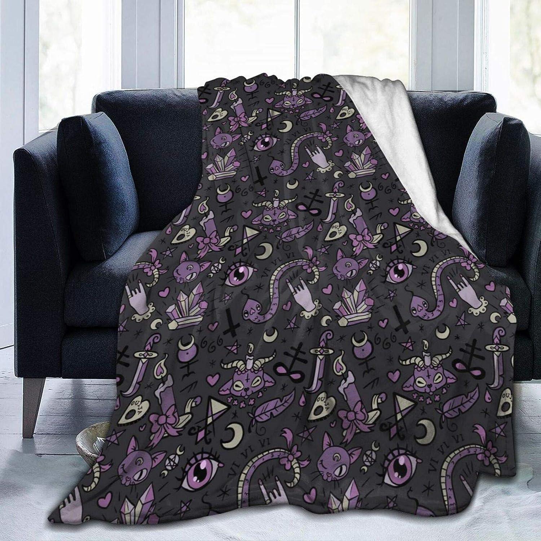 Purple Black Goth Spooky Sherpa Fleece Bed Blanket Queen List price Size Su Credence