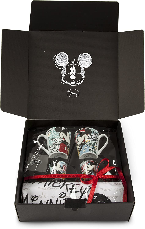 Egan Disney WMSET/2 5 2 Vasos de café Vasos y paños de Cocina diseño de Mickey y Minnie Mouse
