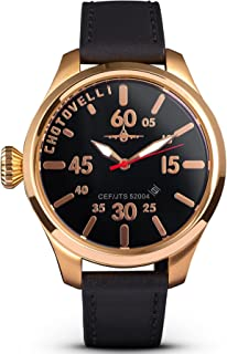 Chotovelli Men's 5204 Airliner Rose Gold Pilot Watch Sapphire Crystal Italian Leather Strap