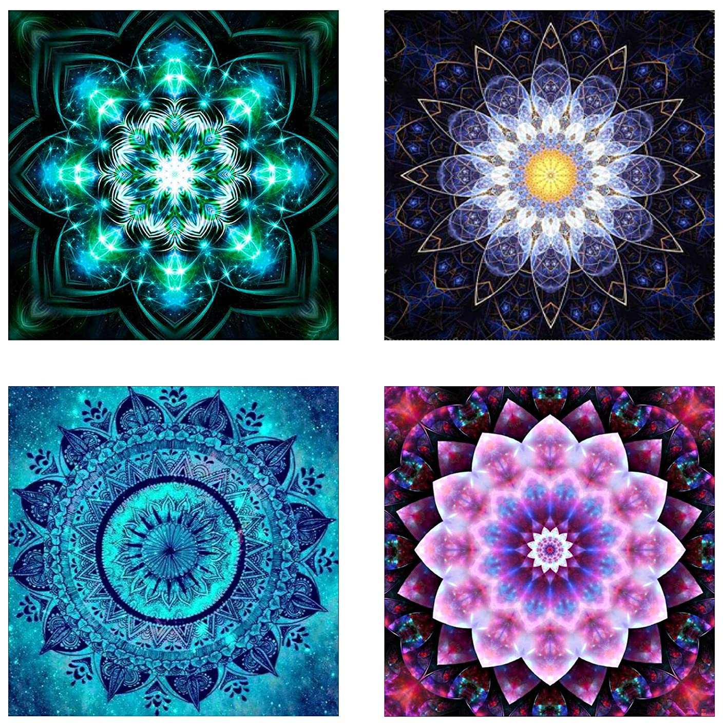 4 Pack 5D DIY Diamond Painting Set Decorating Cabinet Table Stickers Crystal Rhinestone Diamond Embroidery Paintings Pictures for Study Room,Mandala Flower Painting(25X25CM/9.8X9.8inch)