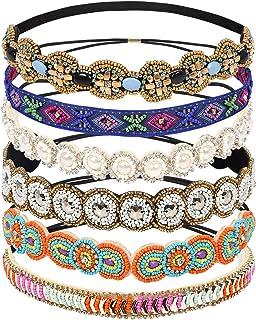 Teenitor 6 Pieces Elastic Rhinestone Beaded Women Headbands, Handmade Vintage Jewelry Hair Bands for Girl Hair Accessories...
