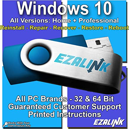 Windows 10 Compatible Reinstall Recovery Repair Restore Fix Bootable USB by EzaLink® | Professional & Home 32 & 64 Bit ALL Brands HP, Dell, etc. [Instructions & Support]