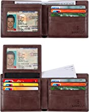 SANXIULY Mens Genuine Leather Bifold Wallet Extra Capacity With 2 ID Window And RFID Blocking