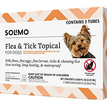 Amazon Brand - Solimo Flea and Tick Topical Treatment for Dogs, For Small Dogs (5-22 pounds), 3 Doses