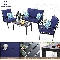 MF STUDIO 4 Piece Metal Patio Sofa Set Outdoor Furniture Dining Set