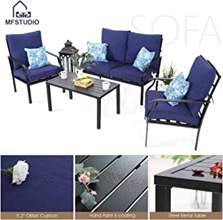 MF STUDIO 4 Piece Metal Patio Dining Set Outdoor Furniture Sofa Cushioned Conversation Set Backyard Garden Bistro Set, w/Loveseat-2 Chairs and 1 Coffee Table (Navy-Blue)