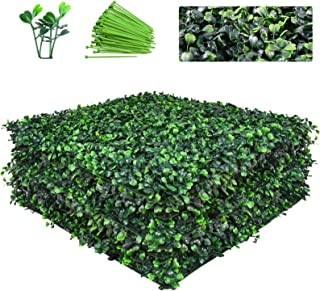 Funland 12 PCS 20''X20'' Square Thick Artificial Boxwood Hedge Boxwood Wall Panel UV-Proof Privacy Garden Greenery Grass W...