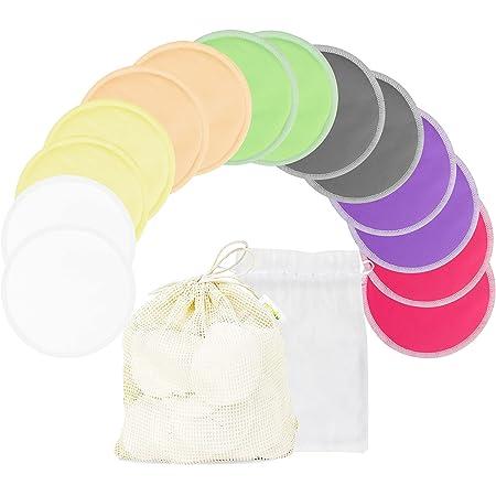 Bamboo Nursing Pads (14 Pack) + Laundry Bag & Travel Storage Bag, 2 Sizes: 3.9/4.7 inch Option - Washable & Reusable Nursing Pads (Passion, Small, Daytime Use)