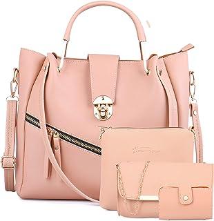 Shining Star Women's Crem Handbag with Sling Bag Combo