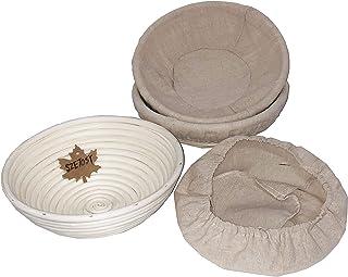Banneton Lot de 3 paniers à pain rond en rotin naturel pour pain, pâte, pizza et pâte à pâtisserie