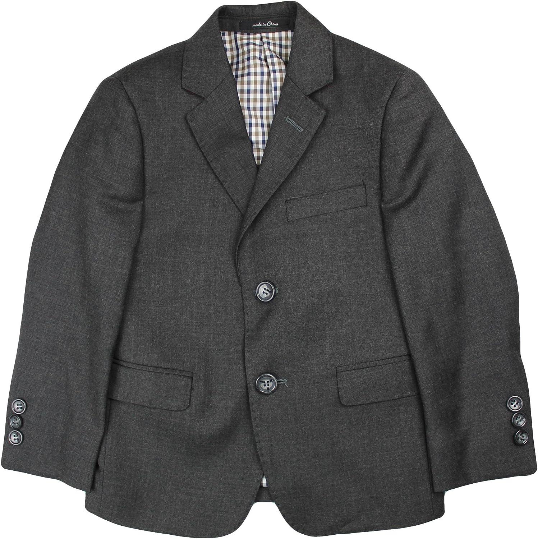 T.O. Collection Boys Blazer Sports Suit Jacket (Slim, Regular, Husky Fits) - Charcoal, 16 Slim