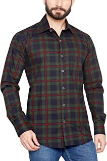 GLOBALRANG 100% Cotton Red Checks Casual Shirt for Men