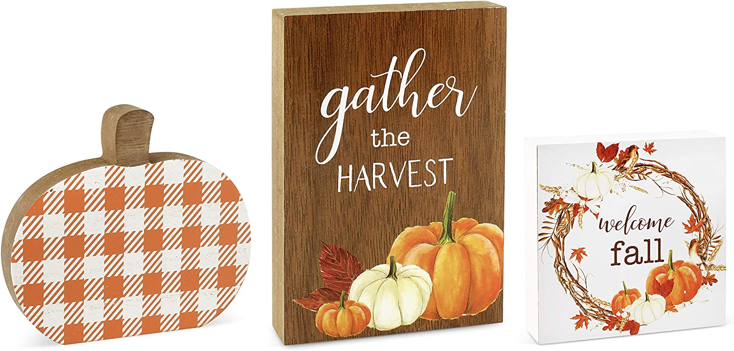 AuldHome Fall Wood New products world's highest quality popular Block Signs Set of and Ranking TOP4 Har Pumpkin ; Small 3