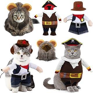 Xuniea 3 Pieces Pet Halloween Costume, Includes Cowboy Uniform with Hat, Pirate Costume with Hat, Lion Mane Hat, Pet Costu...