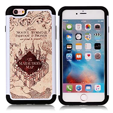 iPhone 6S Plus Case, Hogwarts Marauder's Map Pattern Shock-Absorption Hard PC and Inner Silicone Hybrid Dual Layer Armor Defender Protective Case Cover for Apple iPhone 6S Plus/iPhone 6 Plus
