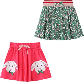 JELLY LULU 2T-6T Toddler/Little Girls Soft Basic Cotton Skirt, 2-Pack