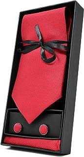 Oxford Collection Corbata de hombre, Pañuelo de Bolsillo y Gemelos Rojo - 100% Seda - Clásico, Elegante y Moderno - (Caja y Conjunto de Regalo, ideal para una boda, con un traje, en la oficina.)