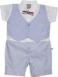 Little Kangaroos Baby Boy Formal Romper, Sky Blue/White - ROGS2019369B