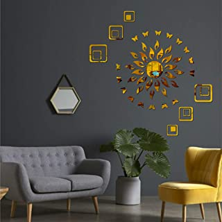 Best Decor Sun Flame 12 Square with 20 Butterfly Golden Code 440 Acrylic Mirror 3D Wall Sticker Decoration for Kids Room/L...
