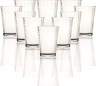 Circleware 40117 Matrix Juice Drinking Glasses, Huge Set of 10, Heavy Base Tumbler Beverage Ice Tea Cups, Home & Kitchen Entertainment Glassware for Water, Beer, Whiskey Bar Decor, 7 oz, Clear
