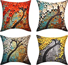 Lewondr Linen Throw Pillow Cover, Set of 4 Soft Breathable Wrinkle-Resistant Pillowcase with Colorful Printed Pattern Decorative Cushion Cover Sham for Sofa Bed Seat 18x18(45x45cm), Wonder Forest
