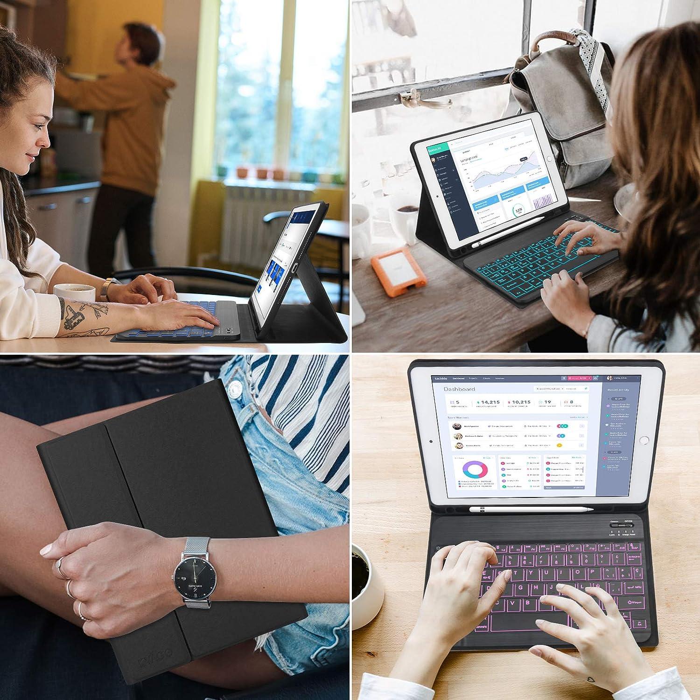 //iPad 10.2 2019 Negro 8/ª Gen KVAGO Teclado iPad 10.2 con Funda,Teclado Funda para iPad 10.2 2020 7/ª Gen //iPad Air 3//iPad Pro 10.5 con Teclado Espa/ñol Bluetooth 7 Color Retroiluminaci/ón