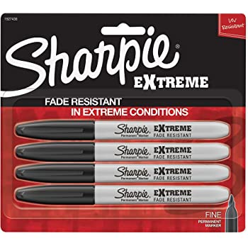 Sharpie Extreme Permanent Markers, Black, 4-Count