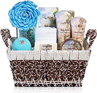 Spa Baskets For Women - Luxury Bath Set With Jasmine & Lavender - Spa Kit Includes Wash, Bubble Bath, Lotion, Bath Salts, Body Scrub, Body Spray, Shower Puff, Bathbombs, Soap and Towel, Medium